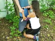Lascivious wife with friend outdoor doing sex