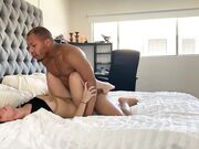 Fit interracial couple perform an outstanding fuck at home
